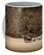 Amish Farmer Tilling The Fields In Black And White Coffee Mug