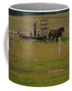 Amish Man And Two Sons On The Farm Coffee Mug