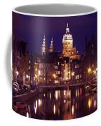 Amsterdam In The Netherlands By Night Coffee Mug