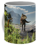 An Acrocanthosaurus Roams An Early Coffee Mug by Arthur Dorety
