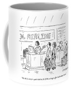 An Airline Concierge Checks The Computer For Two Coffee Mug