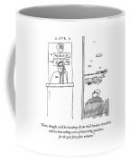 An Airport Gate Agent Makes An Announcement Coffee Mug