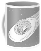 An Alien Cruises Through Space In A Flying Saucer Coffee Mug