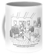 An Artist Holding A Shovel Opens The Door Coffee Mug