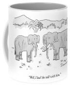 An Elephant With A Condom On One Tusk Speaks Coffee Mug