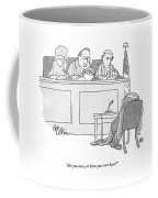 An Empty Suit Sits On A Chair In Court Coffee Mug