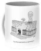 An Enormous Tomb Statue Of A Man's Head Stands Coffee Mug