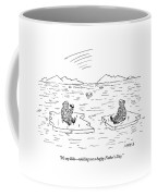 An Eskimo Floating On An Ice Float Holding Coffee Mug