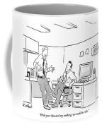 An Excited Man Speaks To His Coworker Coffee Mug