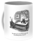 An Executive Sitting At A Desk Is Speaking Coffee Mug