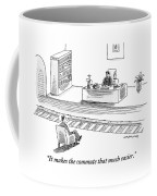 An Executive Sitting At His Desk Speaks To A Man Coffee Mug