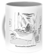 An Executive Sitting In His Office Speaks Coffee Mug