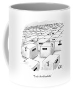 An Office  Full Of Locked Boxes With Eyes Looking Coffee Mug
