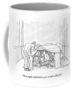 An Office Worker Lifts A Sheet And Finds Three Coffee Mug