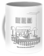 An Old Couple Sits In Bed Below Three Windows Coffee Mug