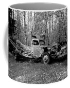 An Old Logging Boom Truck In Black And White Coffee Mug