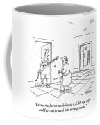 An Old Man In A Bathrobe Addresses A Young Man Coffee Mug