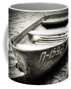 An Old Row Boat In Black And White Coffee Mug