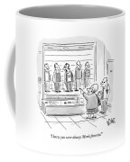 An Old Woman Points Out A Man In A Police Lineup Coffee Mug