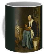 An Old Woman Seated Sewing Coffee Mug