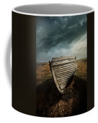 An Old Wreck On The Field. Dramatic Sky In The Background Coffee Mug