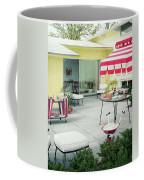 An Outside Area Set Up For A Party Coffee Mug