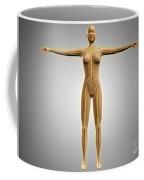 Anatomy Of Female Body With Nervous Coffee Mug