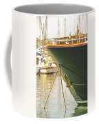 Anchored Yacht In Antibes Harbor Coffee Mug
