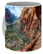 Angels Landing Trail From High Above Zion Canyon Floor Coffee Mug