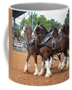 Anheuser Busch Budweiser Clydesdale Horses In Harness Usa Rodeo Coffee Mug