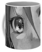Anime Girl Eyes Black And White Coffee Mug