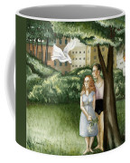 Annunciation With Burning Building Coffee Mug by Caroline Jennings