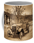 Antique Car At Service Station In Sepia Coffee Mug