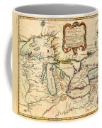 Antique French Map Of The Great Lakes 1755 Coffee Mug