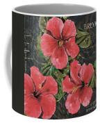 Antique Hibiscus Black 3 Coffee Mug by Debbie DeWitt