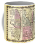 Antique Map Of Chicago And St Louis 1855 Coffee Mug