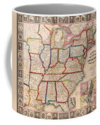 Antique Map Of The United States 1848 Coffee Mug