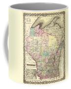 Antique Map Of Wisconsin 1855 Coffee Mug