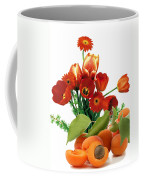 Apricots And Red Roses Coffee Mug