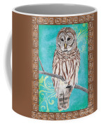 Aqua Barred Owl Coffee Mug
