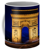 Arc De Triomphe At Night Paris France Coffee Mug