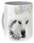 Arctic Wolf With Yellow Eyes Coffee Mug