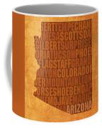 Arizona Word Art State Map On Canvas Coffee Mug