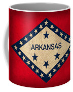 Arkansas State Flag Art On Worn Canvas Coffee Mug by Design Turnpike