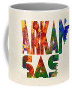 Arkansas Typographic Watercolor Map Coffee Mug