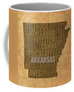 Arkansas Word Art State Map On Canvas Coffee Mug