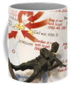 Army Man Lying On Middle East Conflicts Map Coffee Mug