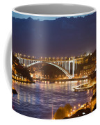 Arrabida Bridge At Night In Porto And Gaia Coffee Mug