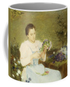 Arranging Flowers For A Spring Bouquet Coffee Mug by Victor Gabriel Gilbert