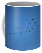 Artistic Painterly On The Way To Summer Stretch Of Geese Moving North Coffee Mug